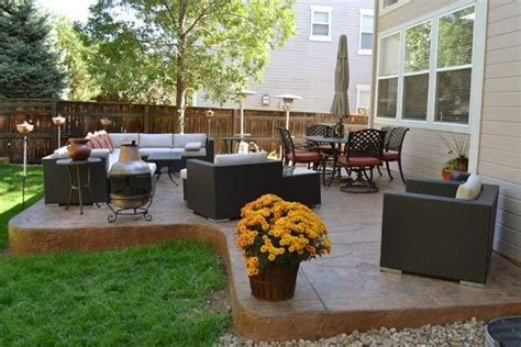 Patio Arrangements by Expanded And Overlayed Concrete Patio With Furnishings
