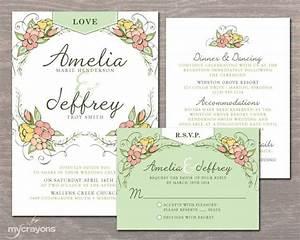 whimsical garden wedding invitation set floral wedding With free printable garden wedding invitations