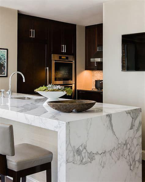 Marble Waterfall Island  Modern  Kitchen  Elms Interior