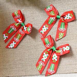 6pcs, 10cm, Christmas, Pattern, Ribbon, Diy, Bow, Knot, Christmas, Decorations, New, Year, Decorations