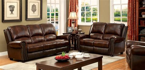 Leather Loveseat With Nailhead Trim by Carlton Traditional Brown Loveseat In Top Grain Leather