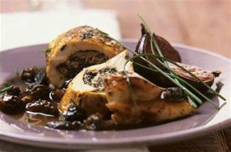 recette de cuisine sans gluten escalopes de poulet farcies aux morilles et aux figues