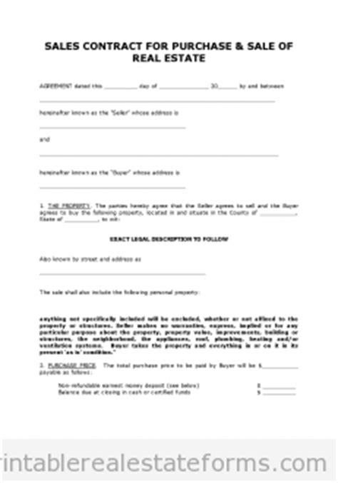 Selling A Business Contract Template Free by Free Printable Land Contract Forms Word File