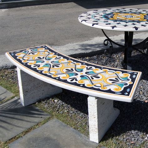 panchine da giardino in pietra lavica decorate artesole