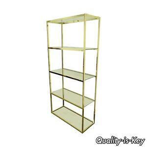 Glass Etagere Bookcase by Vintage Etagere Bookcase Mid Century Modern Gold