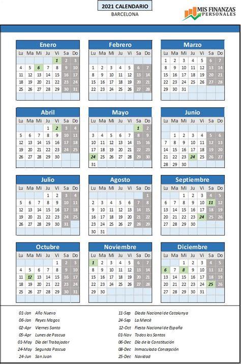 Días festivos por comunidades autónomas 2021. Calendario laboral Barcelona 2021