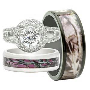 camo engagement rings his and hers his and hers 3pcs titanium camo 925 sterling silver engagement wedding rings set ebay