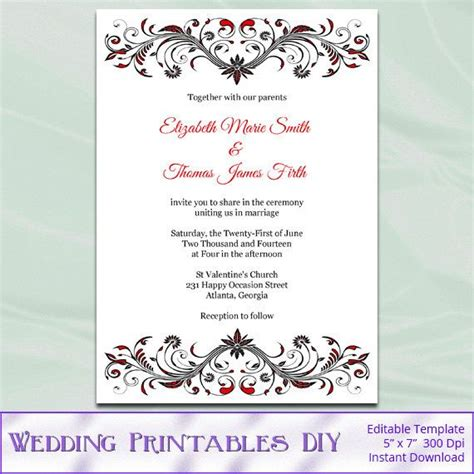 diy printable invitation templates red black and white