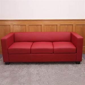 Sofa Schwarz Rot : 3er sofa couch loungesofa lille leder kunstleder mikrofaser textil ebay ~ Markanthonyermac.com Haus und Dekorationen