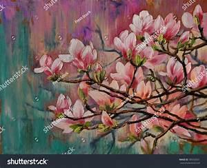 Oil Painting Sakura Branch On Abstract Stock Illustration ...