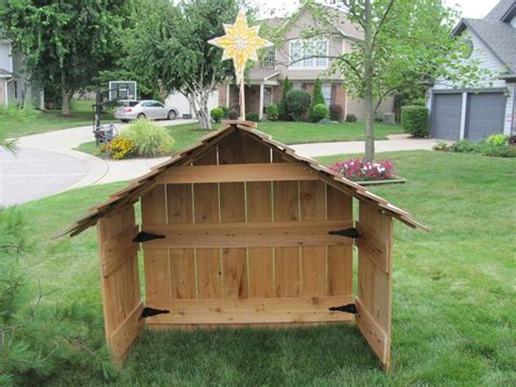 cedar nativity stable creche wood large xmas blowmold star