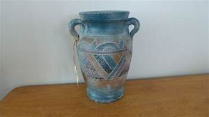 River Junction Pottery Works Aztec Style Stoneware Vase 8