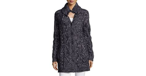 Red Valentino Chunky Wool-blend Long Cardigan In Gray
