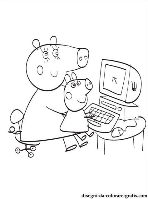 peppa  george il computer da colorare disegni da colorare gratis
