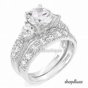 415 ct round cut cz 925 sterling silver wedding ring set With women s plus size wedding rings