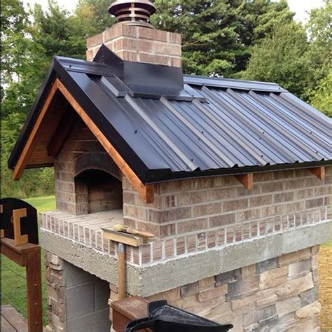 gable roof wood fired outdoor brick pizza oven