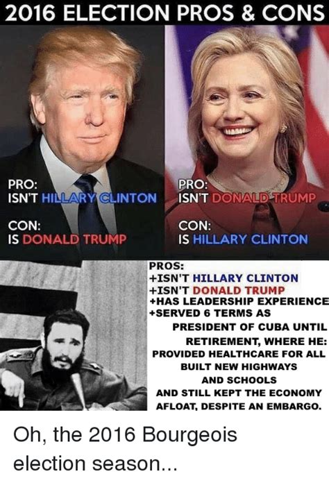 Pro Hillary Clinton Memes - 2016 election pros cons pro pro isn t hillary clinton isn t donald trump con con is donald