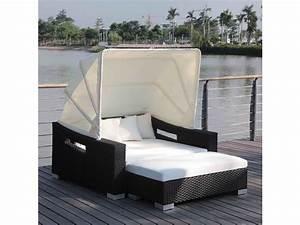 canape lit exterieur a baldaquin michel en poly rotin With tapis exterieur avec matelas bultex pour canape lit