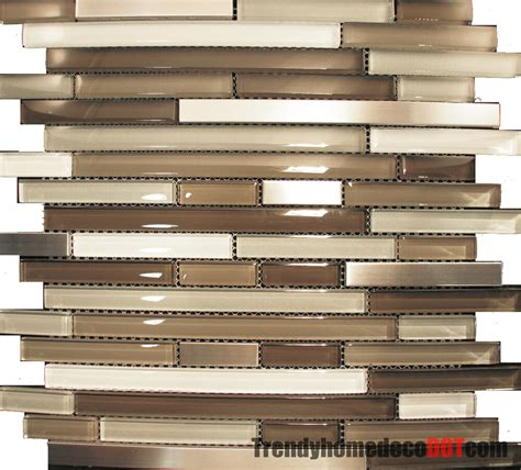 Glass Mosaic Tile Kitchen Backsplash by Sle Stainless Steel Beige Linear Glass Mosaic
