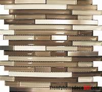 mosaic tile backsplash 10SF- Stainless Steel Cream Beige Linear Glass Mosaic Tile ...