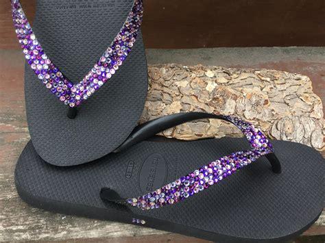 Purple Rainbow Crystal Flip Flops Custom W/ Swarovski