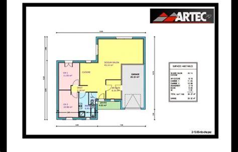 plan de maison 2 chambres plan maison plein pied 80m2