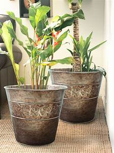 gardening, flower, pots, galvanized, in, old, silver, finish, outdoor, planters, 13, inch, pack, 2, mother, u0026, 39, s