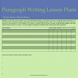 Lessons Of The Day  How To Write A Paragraph