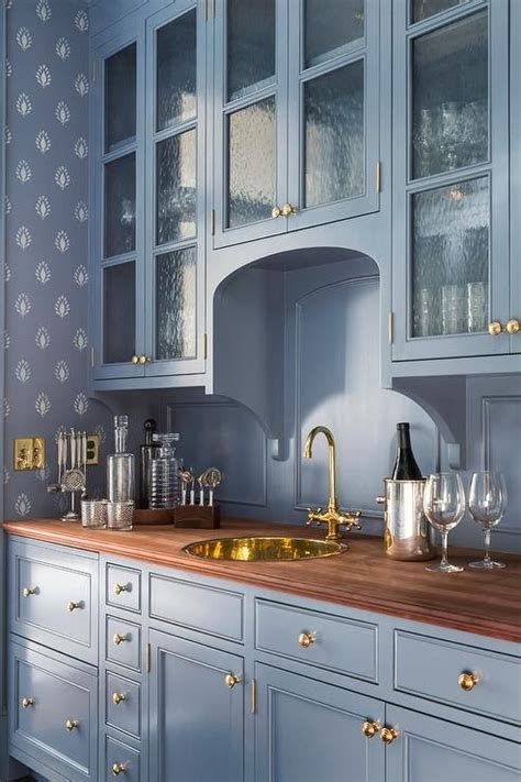 blue butlers pantry features blue cabinets upper