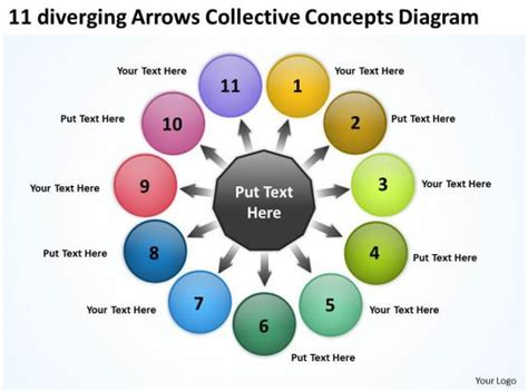diverging arrows collective concepts diagram circular