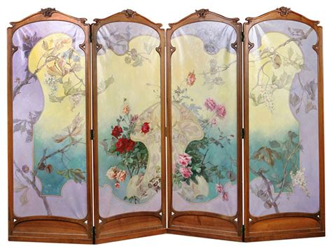 French Antique Art Nouveau Four-panel Painted Screen