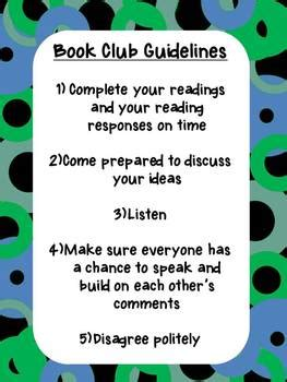book club guidelines poster   lessons