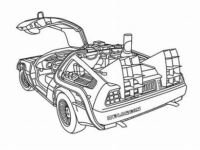 Future Coloring Pages Delorean Line Drawing Cars