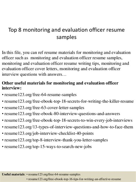 Resume Evaluation by Top 8 Monitoring And Evaluation Officer Resume Sles