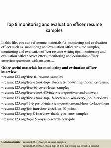 Top 8 monitoring and evaluation officer resume samples for Top resume free evaluation
