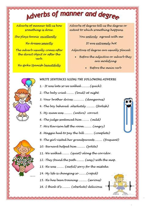 adverbs  manner  degree worksheet  esl