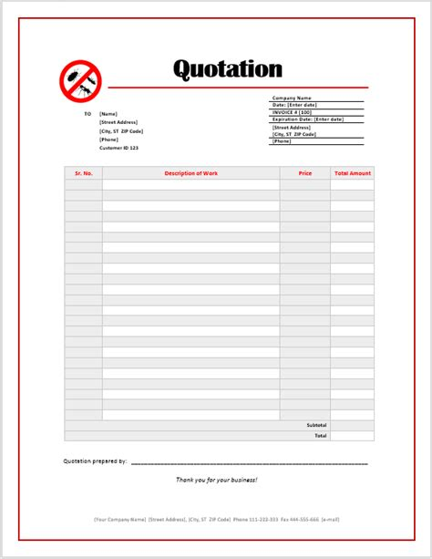 pest control quotation template ms office documents