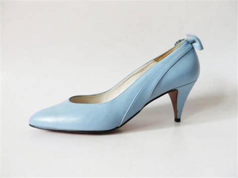 light blue shoes heels vintage 80s light blue wedding shoes with bow genuine