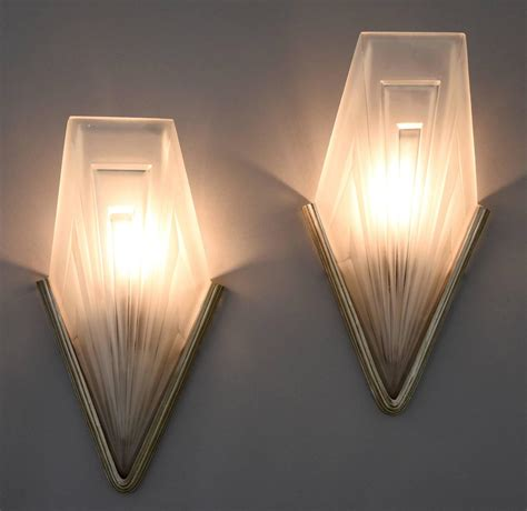 french art deco bronze and glass wall lights by degu 233