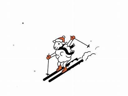 Skiing Sheep Animation Ketchum Hotel Dribbble Snow