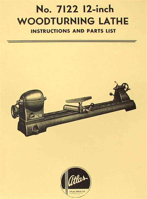 atlas  wood lathe instruction parts manual ozark