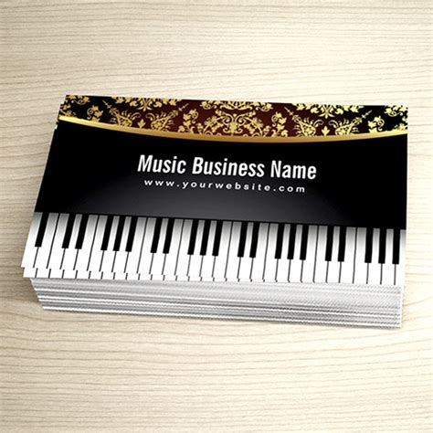 piano business card template luxury realistic piano lessons business card