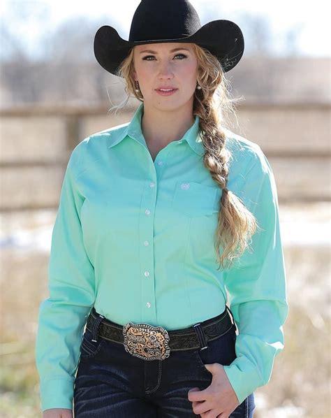 cinch womens long sleeve solid button  shirt mint green