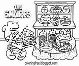 Smurfs Coloring Smurf Printable Baker Colouring Cake Smurfette Bread Drawing Sad Bubby Baking Characters Village Strip Improve Teenage Ladies sketch template