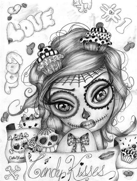 Candy Kisses by Dottie Gleason Sugar Skull Girl Canvas Fine Art Print | Skull coloring pages