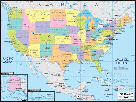 detailed political map  united states  america