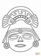 Aztec Mask Coloring Printable Mayan Masks Maya African Colorear Crafts Drawing Kleurplaten Afrikanen Aztecas Supercoloring Incas Dibujos Colorare Mayans Azteca sketch template