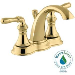kohler devonshire 4 in centerset 2 handle mid arc bathroom faucet in vibrant polished brass