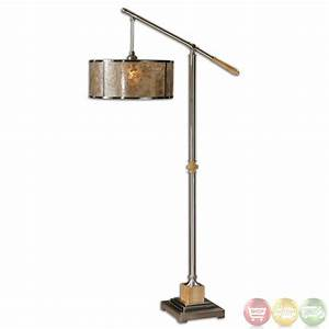 Sitka mica shade brushed aluminum transitional floor for Sitka silver floor lamp