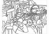 Coloring Cezanne Kitchen Paul Pages Table Adults Still Simple Adult Children Masterpieces Created Printable Artist Justcolor sketch template